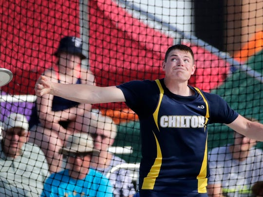 Chilton's Cody Gebhart releases the discus while competing in the Division 2 discus Friday at Veterans Memorial Stadium in La Crosse.