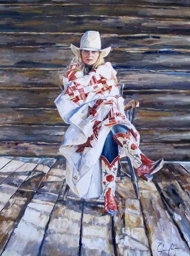 "Jessica James Gilbert's ""These Boots Are Made for Her,"" oil on canvas."