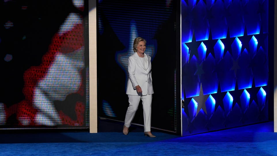 Hillary Clinton arrives on stage to speak at the Democratic