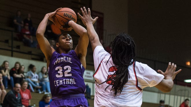 Richmond and Muncie Central high schools met in a North Central Conference boys basketball game at the Tiernan Center in Richmond, Ind. on Tuesday, Feb. 20, 2018. Muncie Central won the contest, 80-59.