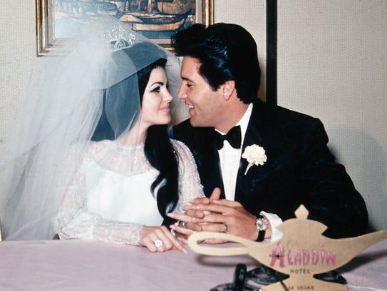 Elvis and Priscilla on their wedding day in Las Vegas