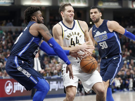 Pacers forward Bojan Bogdanovic (44) has the ball slapped