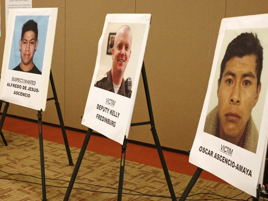 A poster of Alfredo De Jesus- Ascencio (left) who is wanted in the 2007 deaths of Marion County Deputy Sheriff Kelly Fredinburg (center) and Oscar Ascencio-Amaya