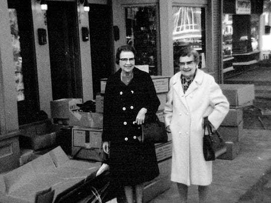 Irma, left, and Zella Schneider, daughters of Michael Schneider, are shown in front of Jeansville as it prepares to open at 315 N. Broad St. in 1976.