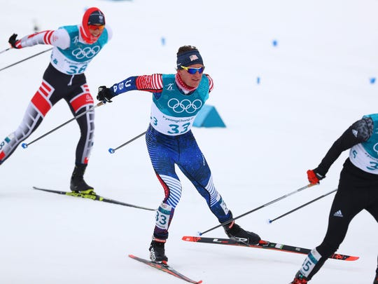 Feb 11, 2018; Pyeongchang, South Korea; Scott Patterson (USA) skis during the men's cross-country skiing 15km x 15km skiathlon in the Pyeongchang 2018 Olympic Winter Games at Alpensia Cross-Country Centre. Mandatory Credit: Rob Schumacher-USA TODAY Sports