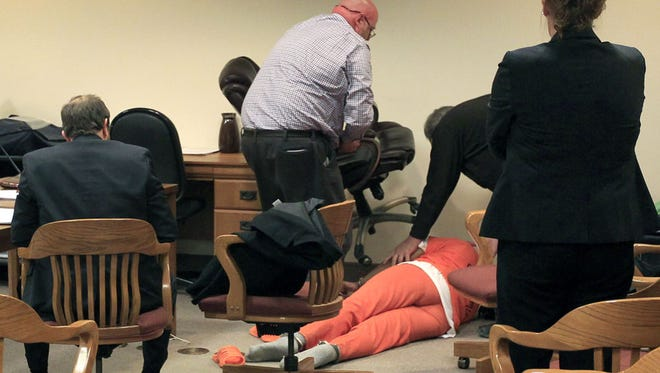 Rosie Campbell, 40, collapsed during sentencing, halting the proceedings on Thursday in Appleton. Medical personnel from the jail were called to the courtroom.before she was sentenced to 5 1/2 years in prison.