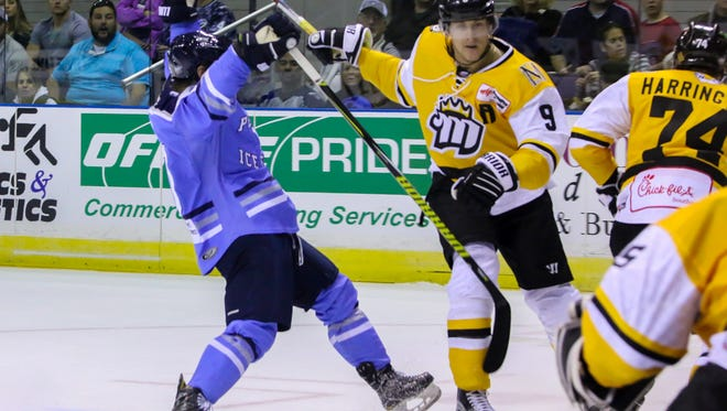 In the Ice Flyers' home-opener last season, Ryan Marcuz (9) was battling against Pensacola when playing for the Mississippi RiverKings. Marcuz, 29,  is now a welcome addition to the Ice Flyers current roster and seeks a long-awaited championship for his career,
