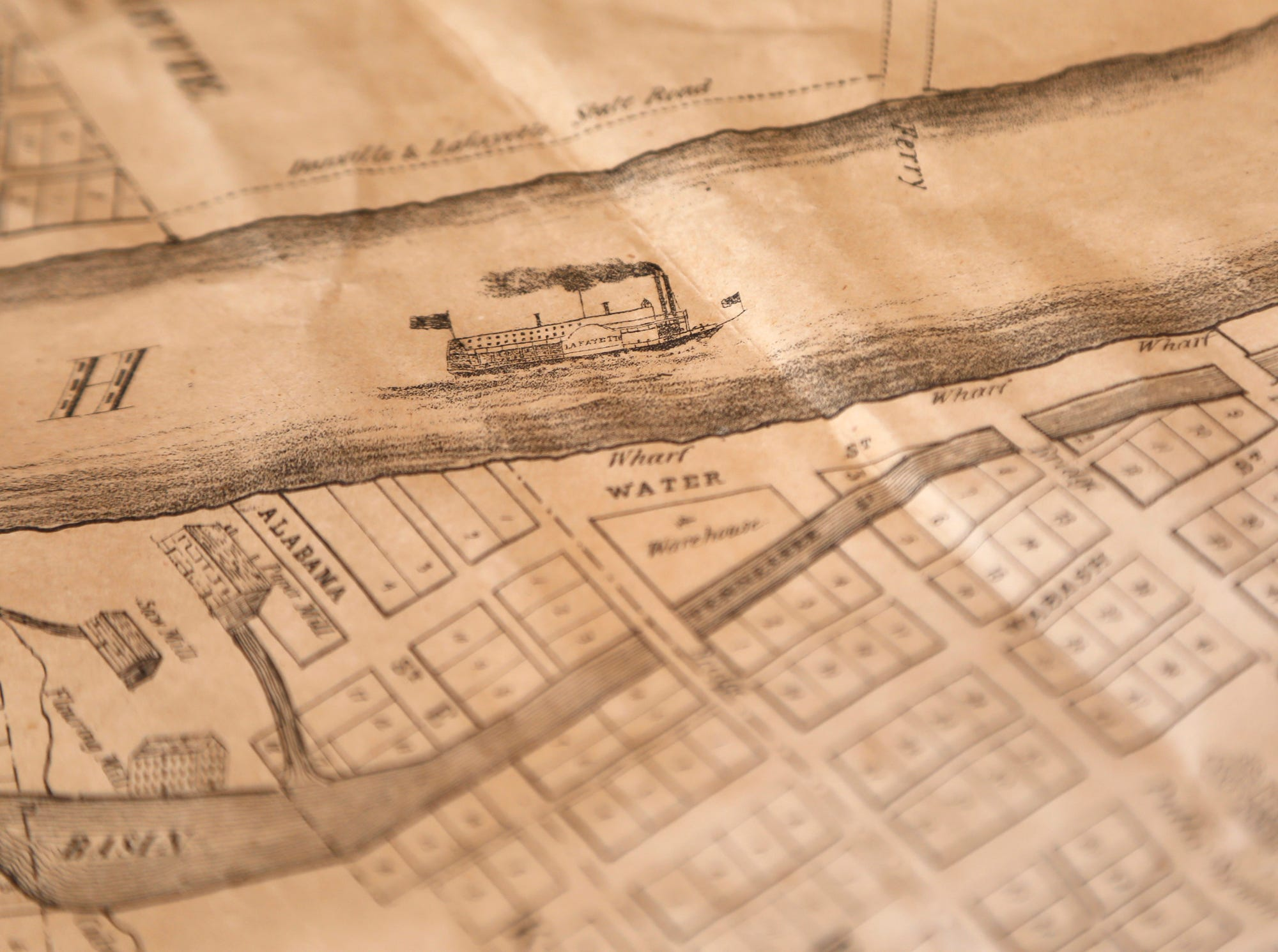 Bangert 1841 map of Lafayette surfaces in a rare find