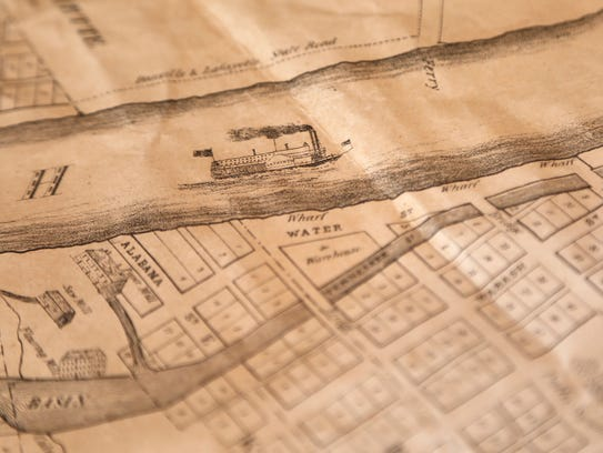 Detail from a copy of the first map printed of Lafayette