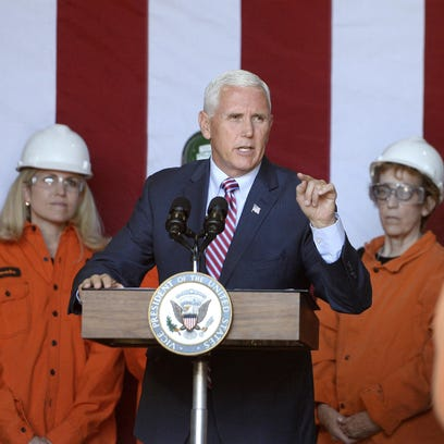 Pence arrives to protests in upstate New York
