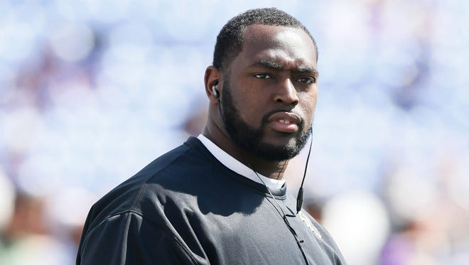 FILE - Baltimore Ravens defensive end Arthur Jones (97) prior to the game against the Cleveland Browns at M&T Bank Stadium.