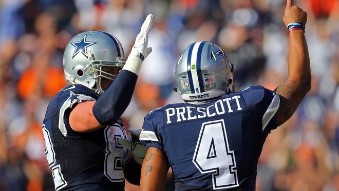 Dak Prescott threw three touchdown passes on Sunday, including one to tight end Jason Witten.