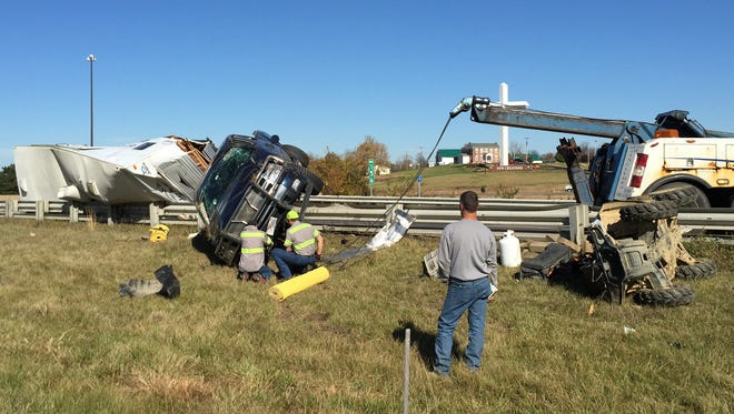 The Indiana State Police are investigating an accident involving a pick-up truck pulling a camper that took place at about 11:20 a.m. Monday in the westbound lane of Interstate 70 near the U.S. 40 interchange.