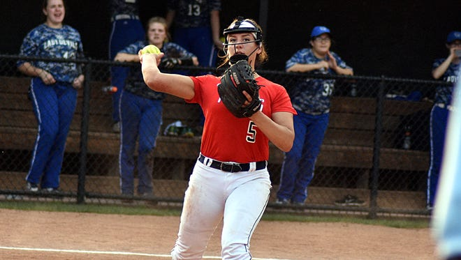 White House Heritage pitcher Alyssa Arden throws to first base during Thursday's District 9-AA Tournament elimination game against White House.