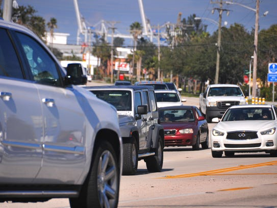 Traffic on A1A in Cape Canaveral near where Atlantic