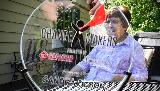 Sandra Olson talks about her volunteer work in the Holdingford community Friday, June 2, during an interview at her home. Olson's work has earned her a ChangeMaker award.