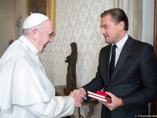 Leonardo DiCaprio meets Pope Francis