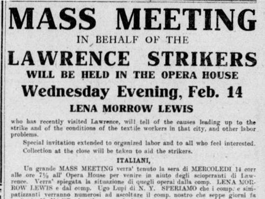 Announcement of meeting on behalf of the Lawrence, Mass., strikers in Barre Daily Times.