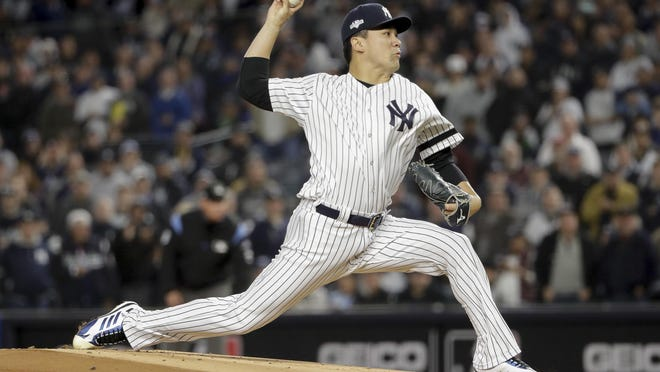 Yankees pitcher Masahiro Tanaka, shown in the 2019 American League Championship Series, allowed one hit with four strikeouts over 3.2 innings in another strong spring training start against the Braves Sunday.