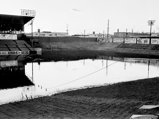 The field at Sulphur Dell Ball Park, home of the Nashville Vols, is under water after heavy rain hit the area March 9, 1961.