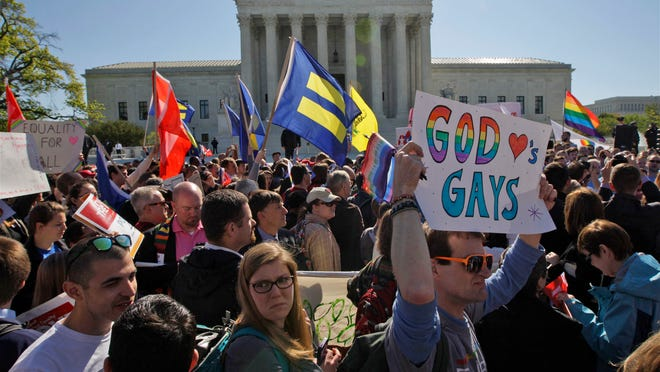 Gay marriage supporters and gay marriage opponents created huge crowds in front of the United States Supreme Court on April 28.