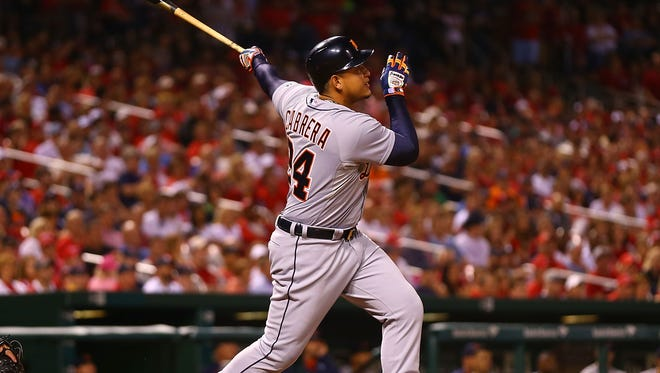 Tigers first baseman Miguel Cabrera hits a two-run home run in the seventh inning Friday in St. Louis.