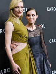 Actresses Cate Blanchett, left, and Rooney Mara attend