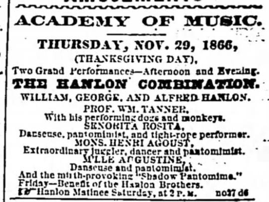 """Thanksgiving day ad in the Daily Courier -- """"Performing"""