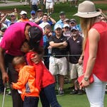 Tiger Woods and his children spent plenty of time with Lindsey Vonn (right) at the Masters last month.