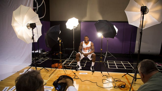 Suns' Eric Bledsoe waits during media day at US Airways Center in Phoenix on Monday, Sept. 29, 2014
