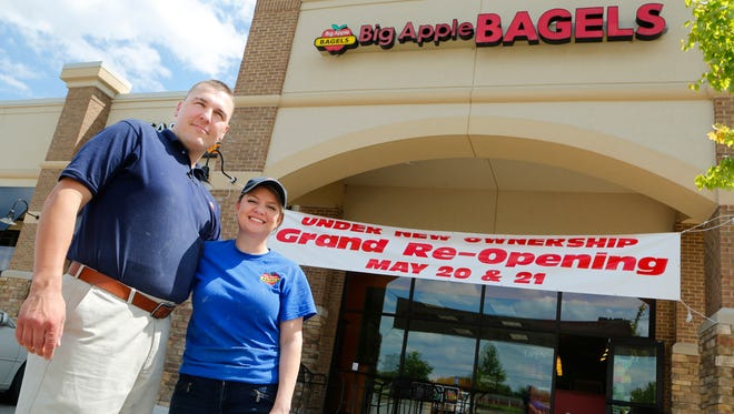 Co-owners Macen and Devin Wilmington Wednesday, May 18, 2016, at Big Apple Bagels, 2049 Veterans Memorial Parkway. The couple will celebrate a grand re-opening of the restaurant May 20 and 21.