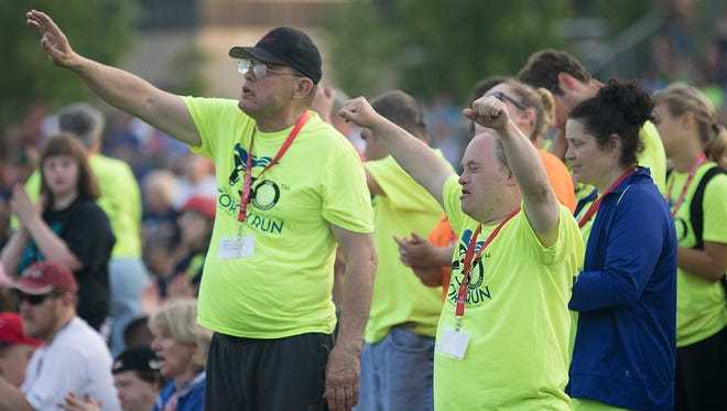 Special Olympics athletes, friends and family gathered at the University of Wisconsin - Stevens Point's Coleman Track for the the opening ceremony for Special Olympics Wisconsin State Summer Games, Thursday, June 9, 2016.