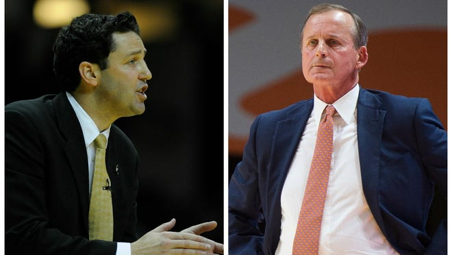Vanderbilt coach Bryce Drew, left, and Tennessee coach Rick Barnes.