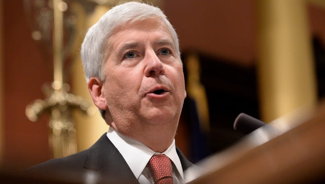 Gov. Rick Snyder delivers his State of the State address on Tuesday, Jan. 17, 2017 at the Capitol in Lansing.