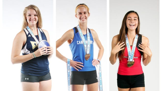 The finalists for The News-Press All-Area Girls Track and Fielder Athlete of the Year are (from left) Rebekah Bergquist, Jessica Edwards. and Moriah Oliveira.