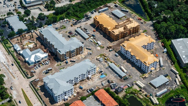 This is an aerial photo taken on July 14, 2020, of the Enclave at 3230 luxury apartments under construction at 3230 S. Ridgewood Ave. in South Daytona. The first units are set to be ready for occupancy in October with the entire $36 million project expected to be completed by spring or summer 2021.