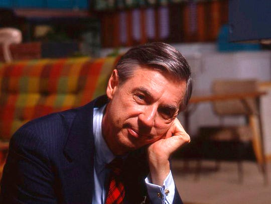 "Fred Rogers on the set of his show ""Mr. Rogers Neighborhood"""