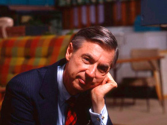 """Fred Rogers on the set of his show """"Mr. Rogers Neighborhood"""""""