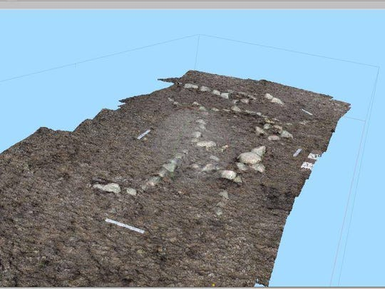 A 3-D map of the Henry Smith archaeological site was