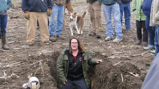 Dr. Jamie Patton, UW-Extension ag agent from Shawano County, shares her experience working with cover crops and building soil health with farmers attending the recent healthy Soil-Healthy Water field tour last week in Dodge County.