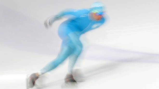 Fedor Mezentsev (KAZ) warms up for the Mens 1,500M speed skating event during the Pyeongchang 2018 Olympic Winter Games at Gangneung Ice Arena.