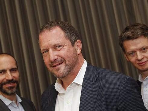From left, Dara Khosrowshahi, CEO of Expedia; Christopher Soder, CEO of Priceline.com North America; and Barney Harford, CEO of Orbitz Worldwide, attend the Travel CEO Roundtable in Hollywood, Fla., on Nov. 21, 2013.