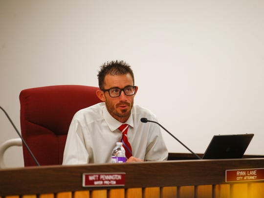 Bloomfield City Attorney Ryan Lane answers questions regarding the city's electric utility system on Monday, April 9, 2018 at Bloomfield City Hall.