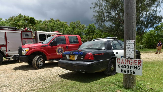Guam Police and Fire Departments prepare to leave the Chamorro Shooting Gallery after a man was sent to the hospital with a gunshot wound to the stomach Tuesday, Aug. 18. The shooting appeared to be accidental and self inflicted, said Officer Allan Guzman, GPD Agat precinct supervisor.