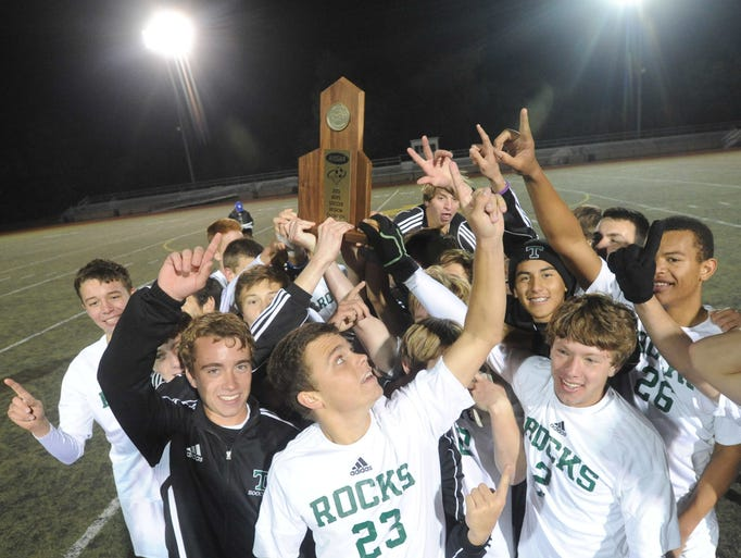 Trinity celebrates its 7th Region win over St. X. After regulation, Trinity and St. X were tied, 1-1. It stayed that way through two overtimes and five penalty kicks. In sudden death, Trinity scored its goal, but St. X's goal was blocked giving the win to Trinity. Oct. 26, 2013