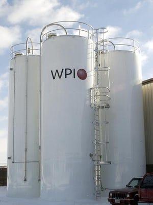 Silos containing plastic pellets at Wisconsin Plastics Inc.