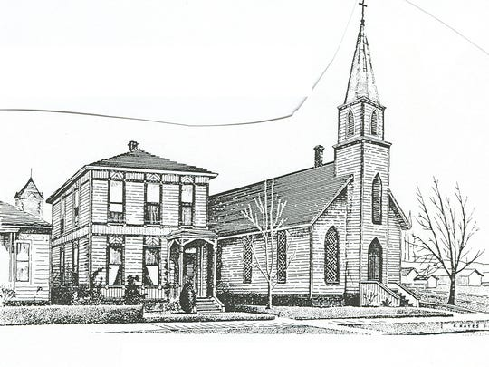 A drawing of the first St. Paul's Episcopal Church and rectory at its original location on the southeast corner of Church and Chemeketa streets NE.