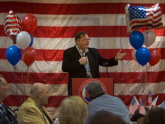 Ocean County Freeholder Jack Kelly addresses the county's