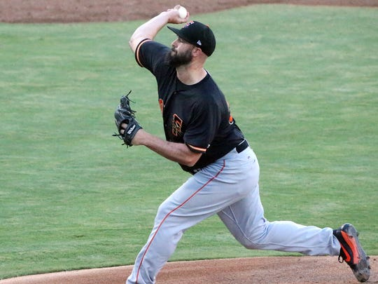 Fresno Grizzlies pitcher Mike Hauschild took the mound against the El Paso Chihuahuas dressed as the El Paso Diablos of old Wednesday night.