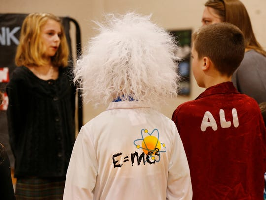 Nikolas Vice, left, as Albert Einstein, and Jonah Brouwer